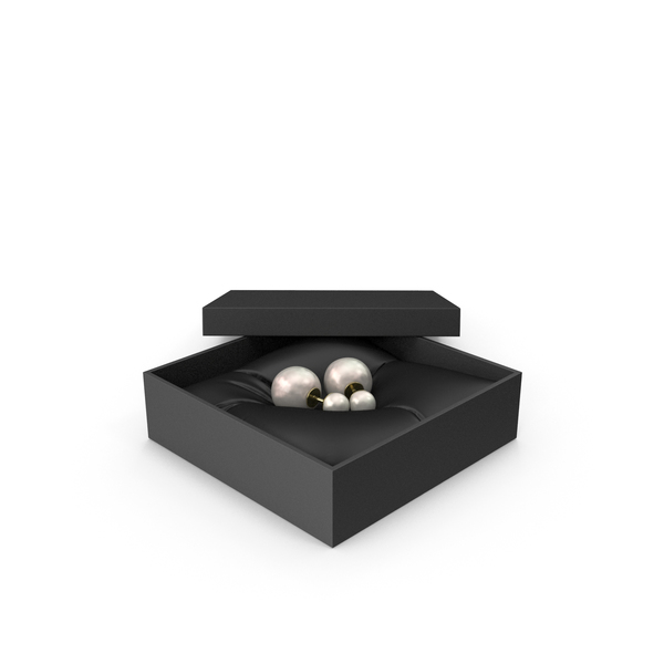 Pearl Earrings in a Gift Black Box PNG & PSD Images
