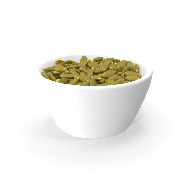 Peeled Pumpkin Seeds in a Ceramic Bowl PNG & PSD Images