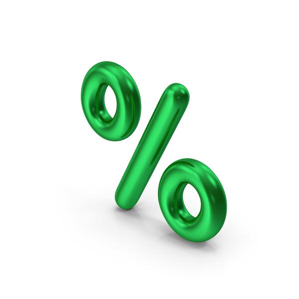 Symbols: Percentage Symbol Green Metallic PNG & PSD Images