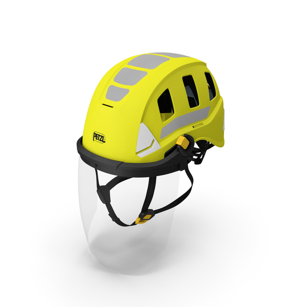 Hard Hat: Petzl Strato Vent Hi-Viz Helmet with Fase Shield PNG & PSD Images