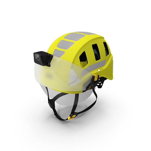 Petzl Strato Vent Hi-Viz Helmet with Visor and Flashlight PNG & PSD Images