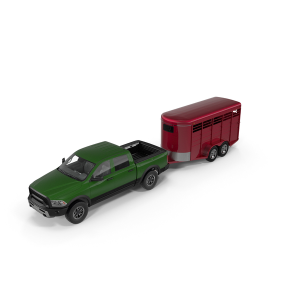 Pick Up: Pickup Truck with Horse Trailer PNG & PSD Images