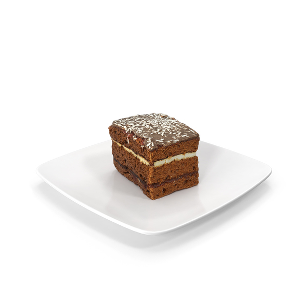 Piece of Chocolate Cake on a Plate PNG & PSD Images
