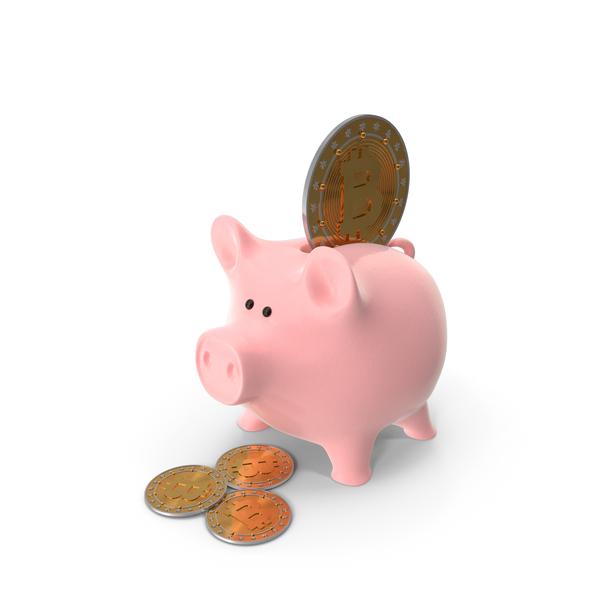 Piggy Bank And Bitcoin PNG & PSD Images