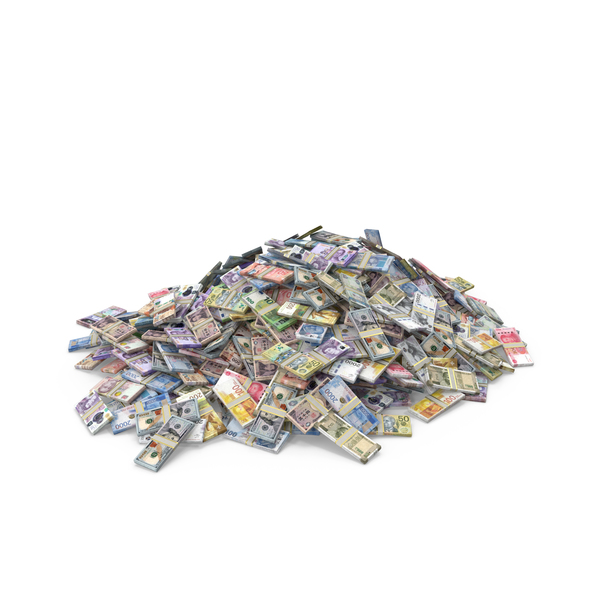 Euro Banknote: Pile of Banknotes from Different Countries PNG & PSD Images