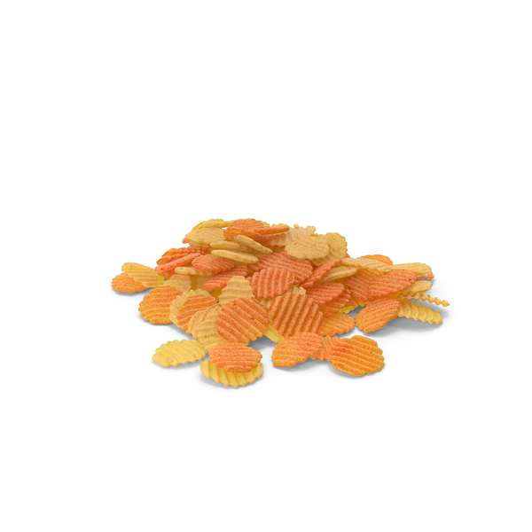 Pile of Mixed Crinkle Cut Wavy Potato Chips PNG & PSD Images
