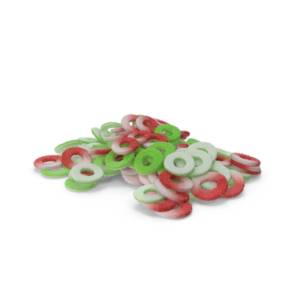 Pile of Sugar Coated Gummy Rings PNG & PSD Images