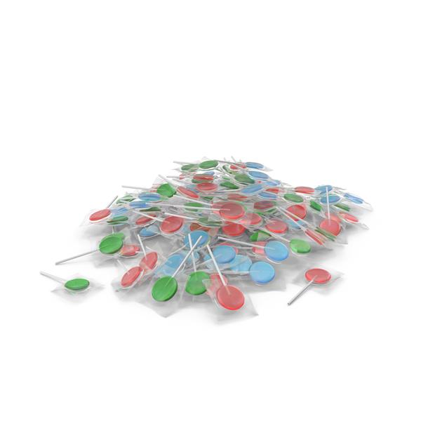 Lollipop: Pile of Wrapped Flat Lollipops PNG & PSD Images