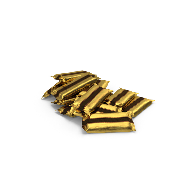 Pile of Wrapped Wide Candy Bars PNG & PSD Images