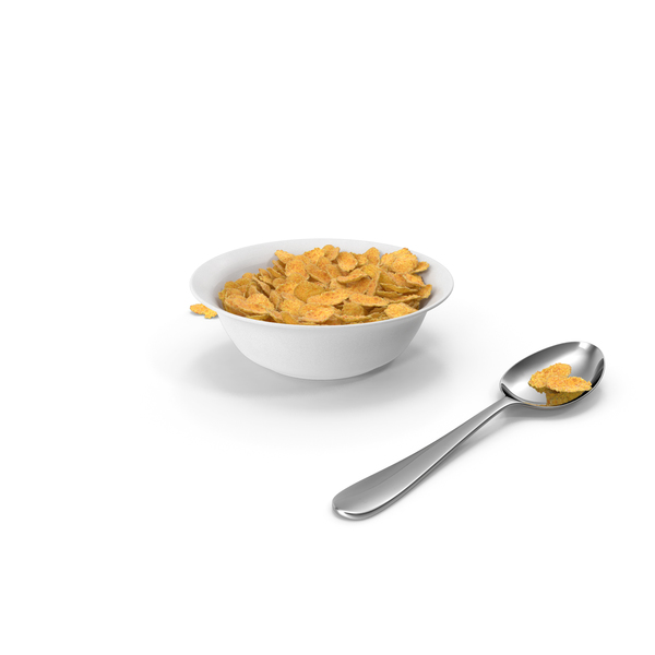 Piles of Corn Flakes Pieces in a Bowl PNG & PSD Images