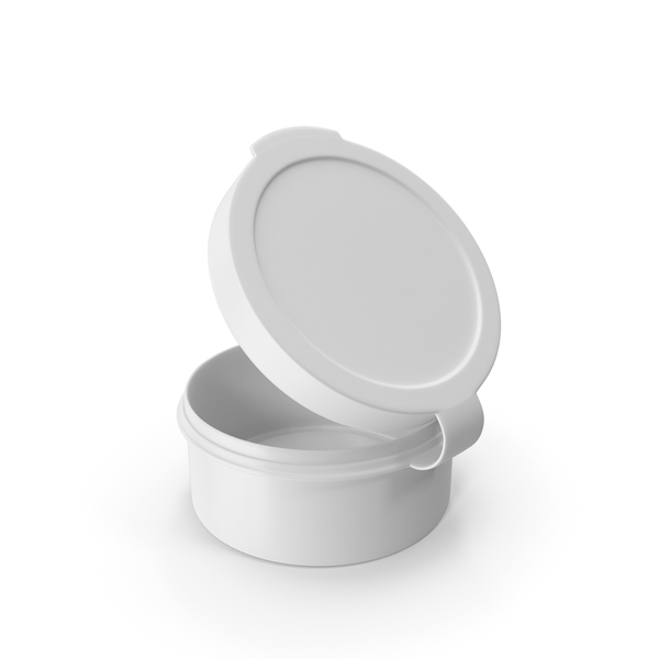 Medicine Bottle: Pill Pod Hinge Top 1/2oz Open White PNG & PSD Images