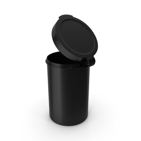 Pill Pod Hinge Top 4oz Open Black PNG & PSD Images