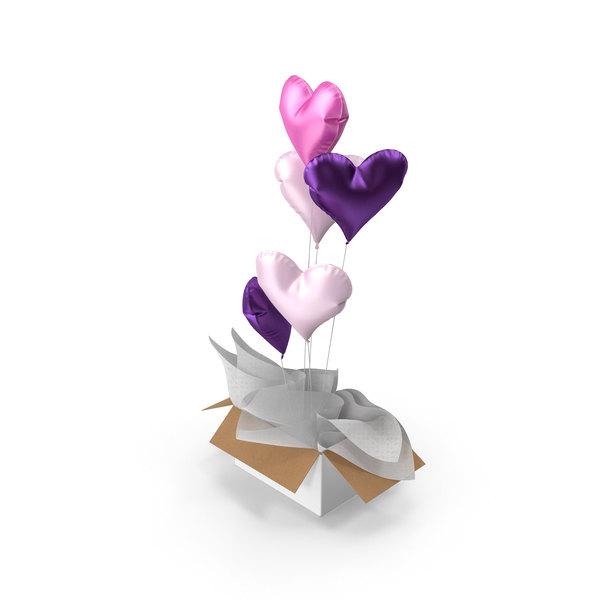 Gift: Pink and Purple Heart Balloons Surprise Box PNG & PSD Images