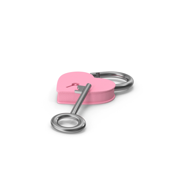 Pink and Silver Heart Shaped Padlock and Key PNG & PSD Images