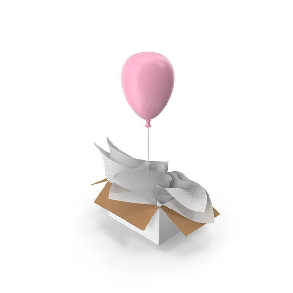 Pink Balloon Surprise Box PNG & PSD Images