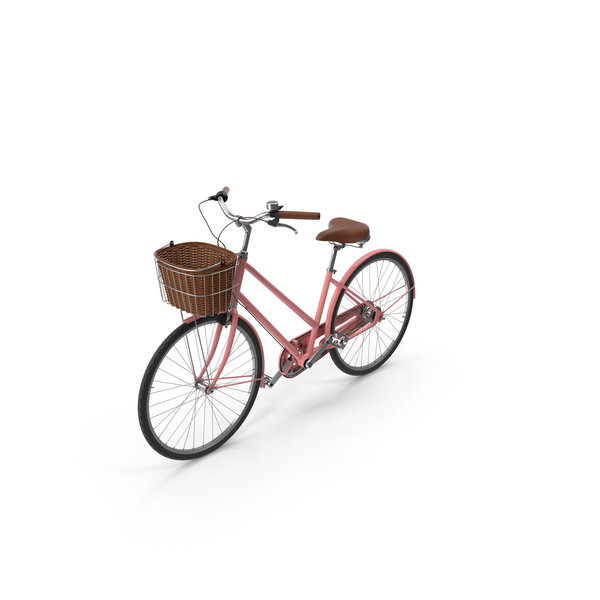 Pink Bike With Basket PNG & PSD Images