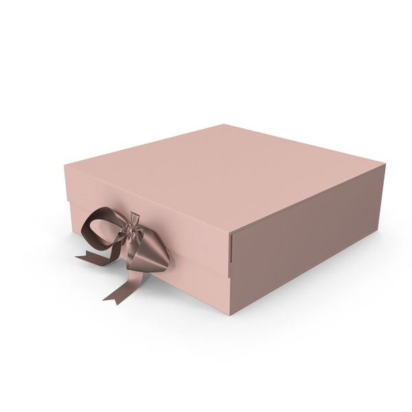 Gift: Pink Box with Ribbon PNG & PSD Images