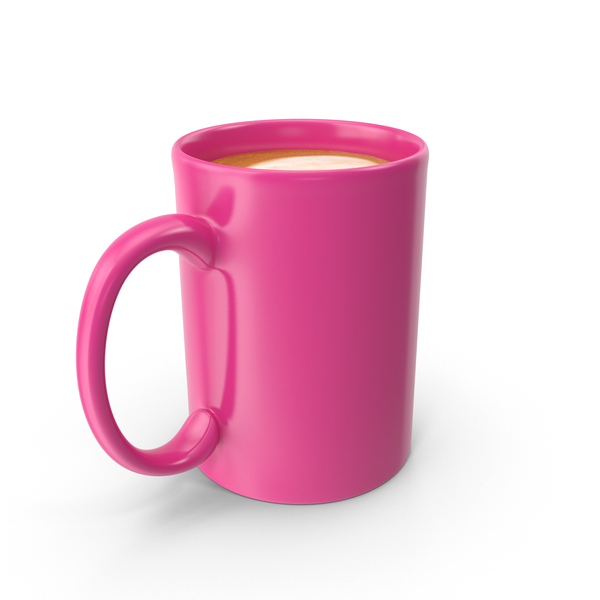 Coffee: Pink Cup With Cappuccino PNG & PSD Images