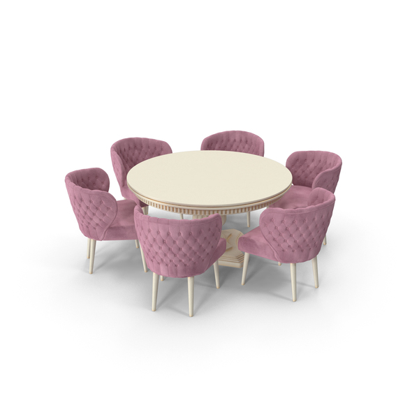 Pink Fabric Velvet Dining Set for 6 Persons PNG & PSD Images