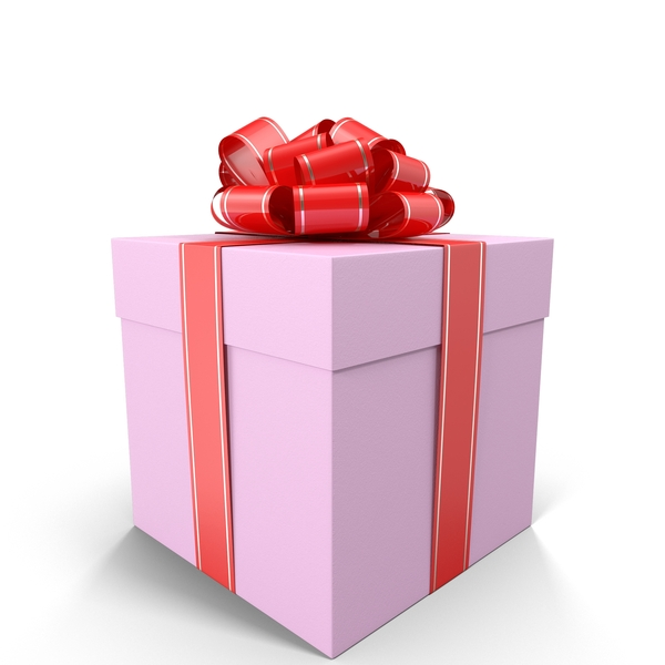 Pink Gift Box with Red Bow Object