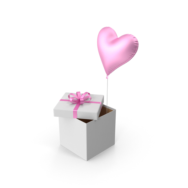 Pink Heart Balloon Gift Box PNG & PSD Images