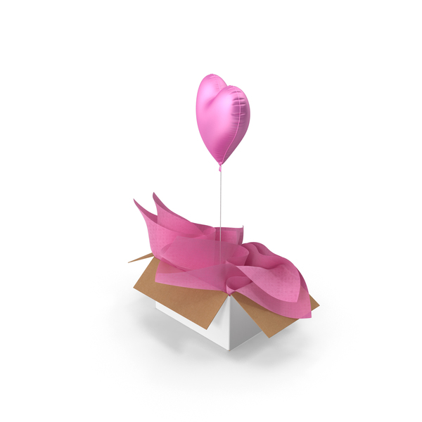 Pink Heart Balloon Surprise Box PNG & PSD Images