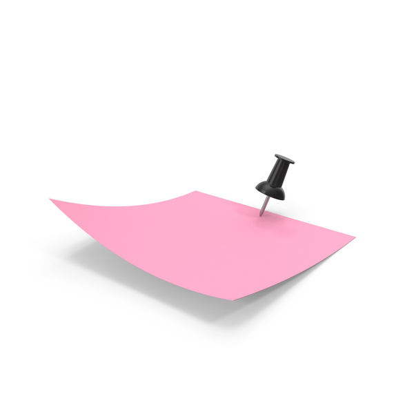Sticky Note: Pink Paper with Black Pin PNG & PSD Images