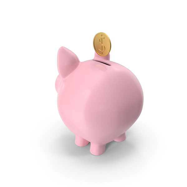 Pink Piggy Bank with Coin PNG & PSD Images