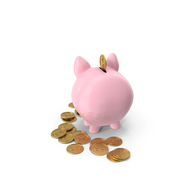 Pink Piggy Bank with Gold Coins PNG & PSD Images