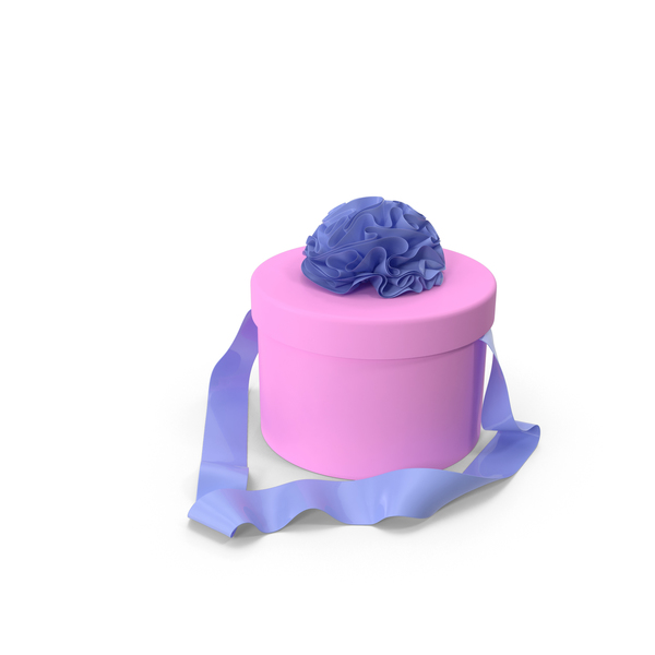 Pink Round Box with Blue Ribbon PNG & PSD Images