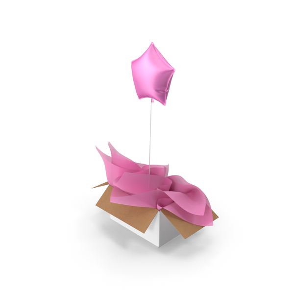Gift: Pink Star Balloon Surprise Box PNG & PSD Images