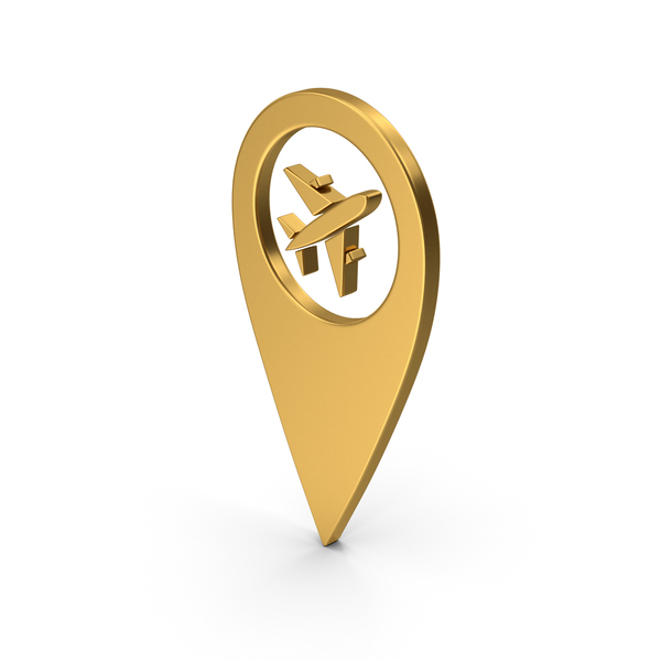 Computer Icon: Pinpoint Airport Gold PNG & PSD Images