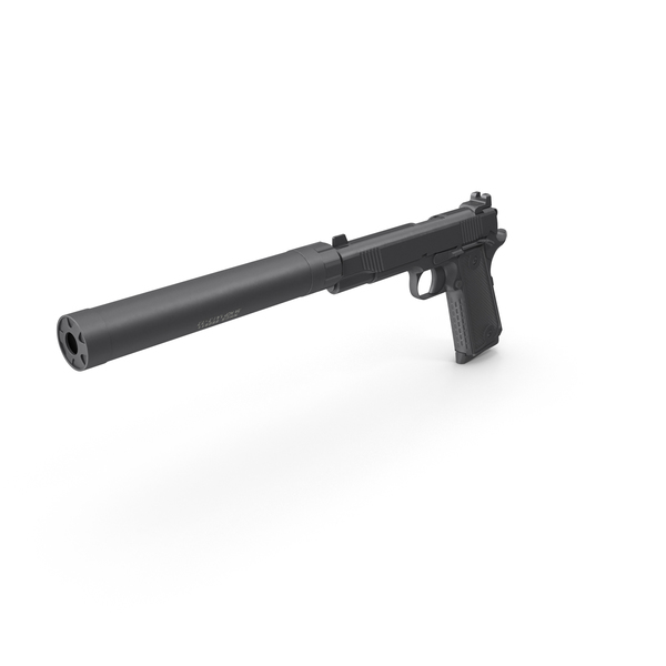 Semi Automatic: Pistol with Silencer PNG & PSD Images