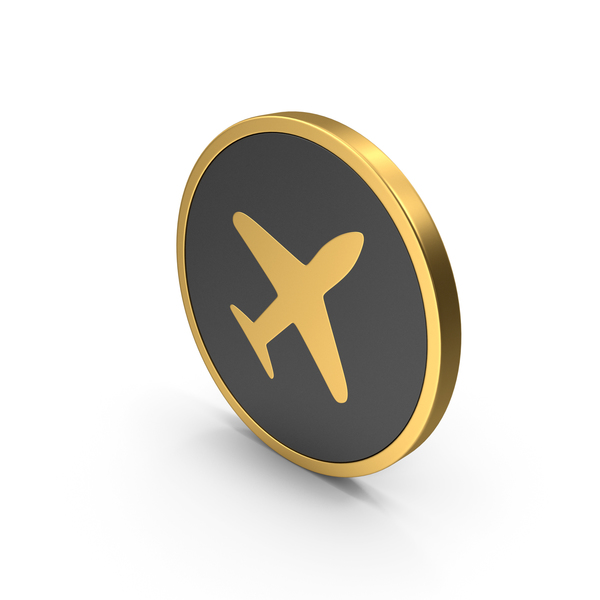 Plane Gold Icon PNG & PSD Images