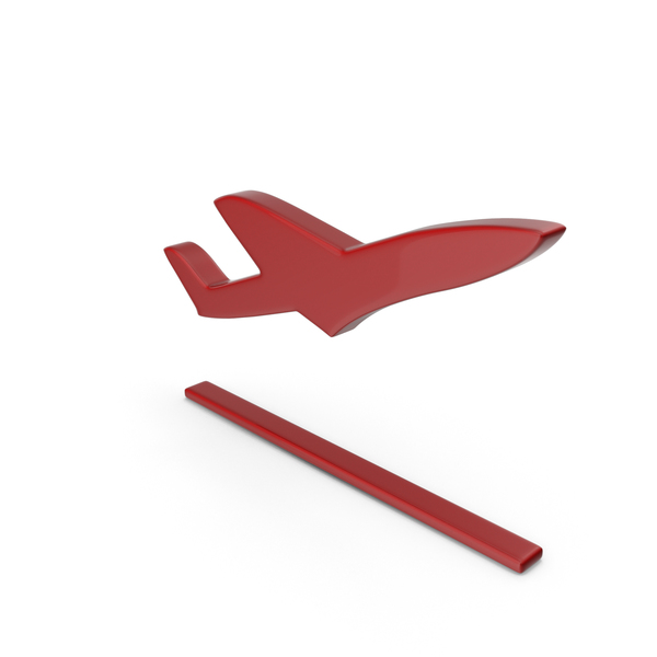 Airplane: Plane Take Off Symbol Red PNG & PSD Images