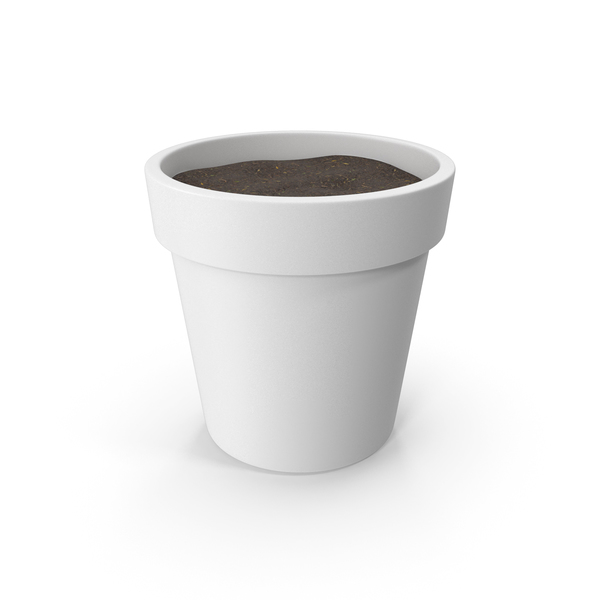Flower Support: Plant Pot With Soil White PNG & PSD Images