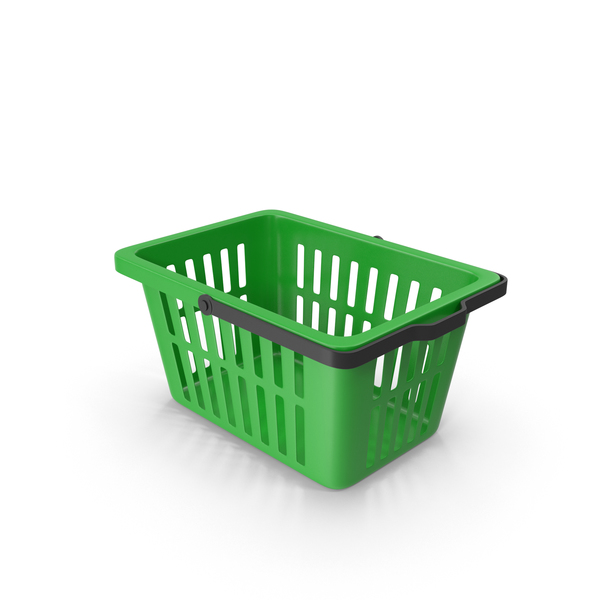 Shopping: Plastic Basket Green PNG & PSD Images