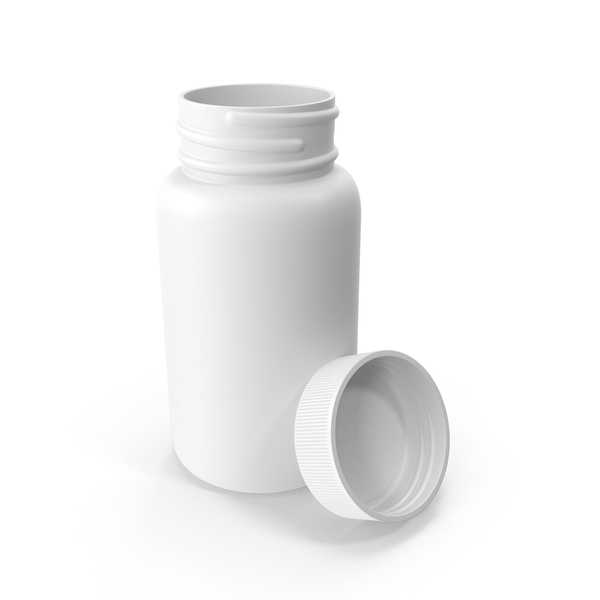 Plastic Bottle Pharma Round 625ml Cap Resting on Bottle PNG & PSD Images