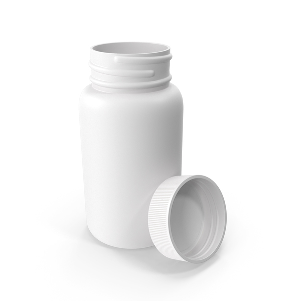Plastic Bottle Pharma Round 950ml Cap Resting on Bottle PNG & PSD Images