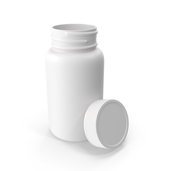 Plastic Bottle Pharma Round 950ml Cap Resting on Bottle Facing in PNG & PSD Images