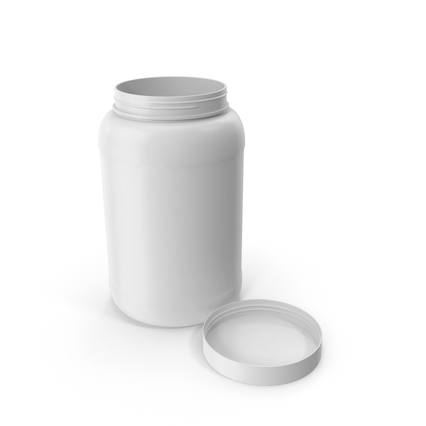 Plastic Bottle Wide Mouth 1.5 Gallon White Open Lid Laying PNG & PSD Images