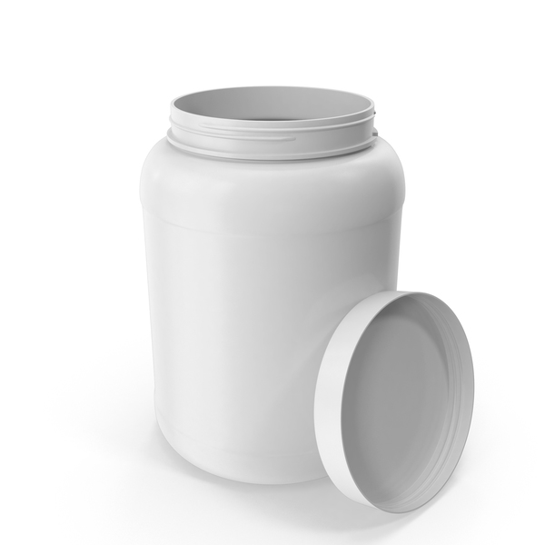 Plastic Bottle Wide Mouth 1.8 Gallon White Open PNG & PSD Images