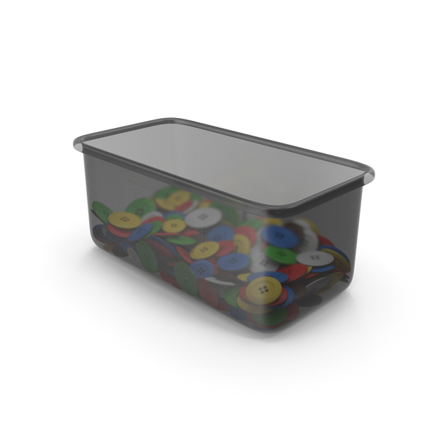 Plastic Container With Cloth Buttons PNG & PSD Images