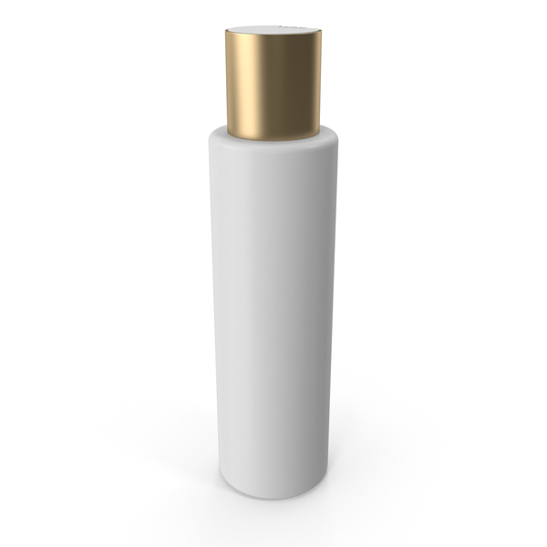 Plastic Cosmetic Bottle with Gold Cap PNG & PSD Images