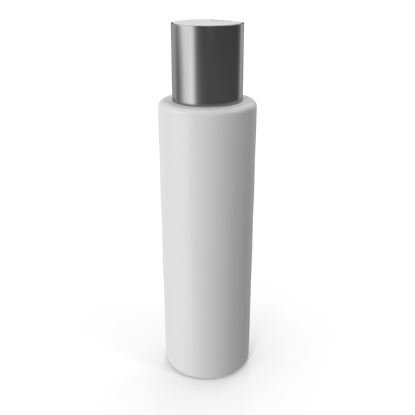 Makeup: Plastic Cosmetic Bottle with Silver Cap PNG & PSD Images