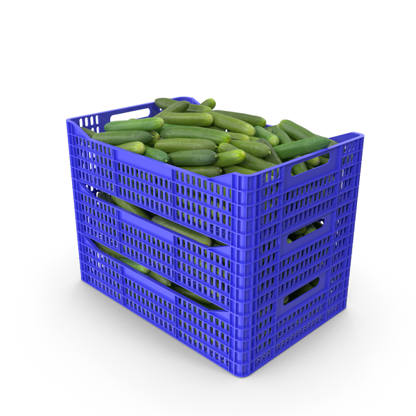 Plastic Crate of Cucumbers PNG & PSD Images