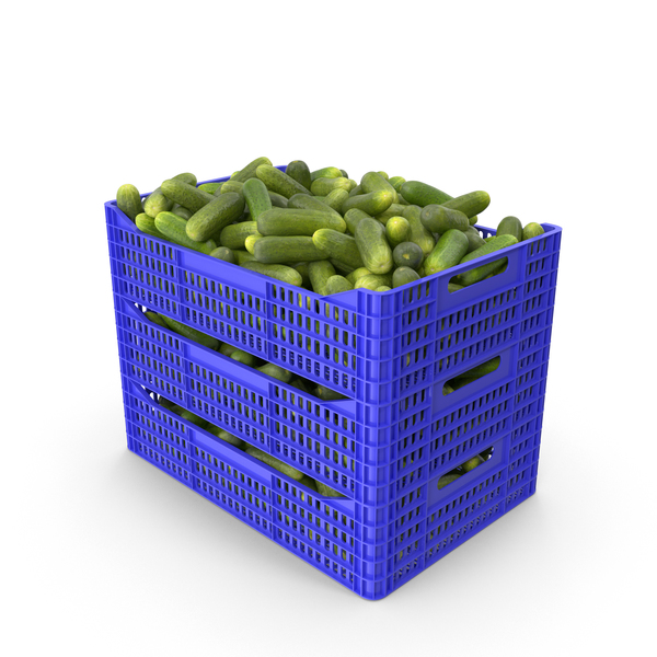 Plastic Crate of Gherkin Cucumbers PNG & PSD Images