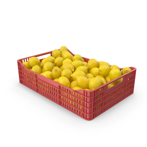 Plastic Crate With Lemons PNG & PSD Images
