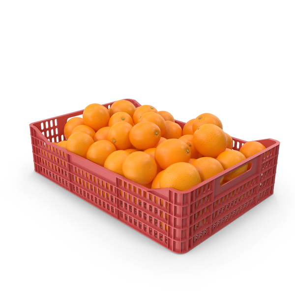 Plastic Crate with Oranges PNG & PSD Images