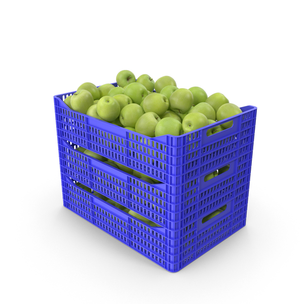 Plastic Crates with Apples Granny Smith PNG & PSD Images